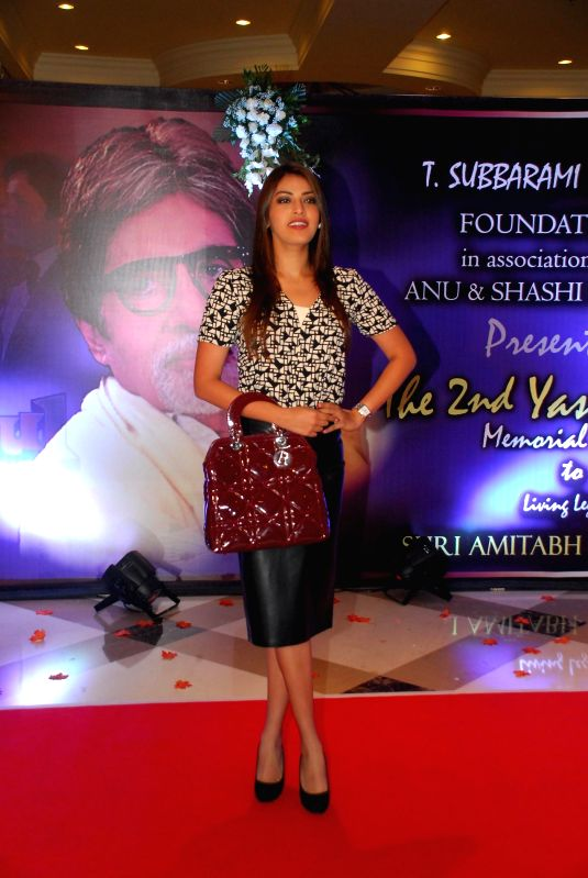 Fashion designer Anushka Rajan arrives to attend the second Yash Chopra Memorial Award which was given to Amitabh Bachchan by the Governor of Maharashtra C Vidyasagar Rao in Mumbai, on ... - Amitabh Bachchan and C Vidyasagar Rao