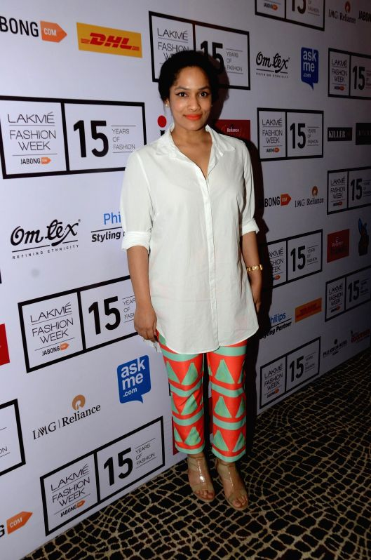 Fashion designer Masaba at the Lakme Fashion Week Summer Resort 2015 in Mumbai, on March 19, 2015.