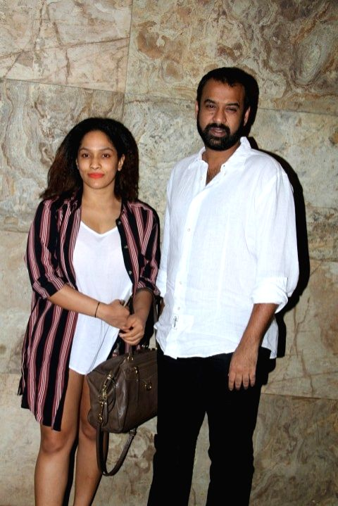 Fashion designer Masaba Gupta with Filmmaker Madhu Mantena during the screening of film Tanu Weds Manu Returns in Mumbai 20th May 2015 - Madhu Mantena and Masaba Gupta
