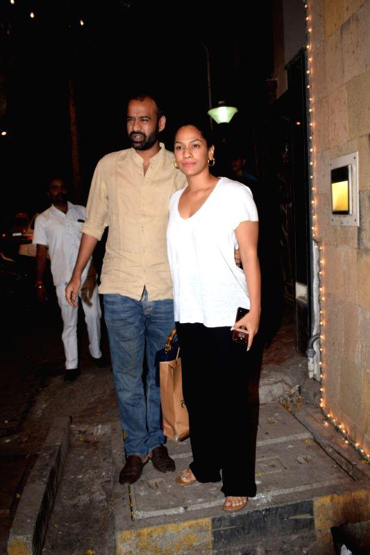 Mumbai: Fashion designer Masaba Gupta with her husband Madhu Mantena seen at actor Anil Kapoor's residence in Juhu, Mumbai on May 4, 2018. (Photo: IANS)(Image Source: IANS News)
