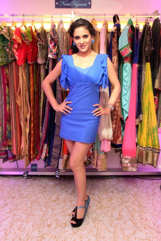 Fashion designer Shweta Khanduri during the launch of designer Avesh Dadlani store Je`Vani -The Designer`s Mall in Mumbai, in Mumbai, on Feb 11, 2015.