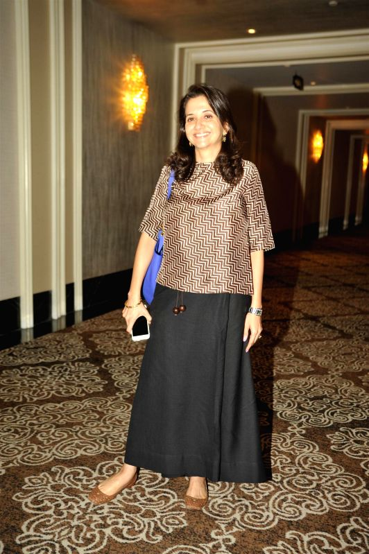 Film critic Anupama Chopra during the launch of screenplays of Guru Dutt`s films, organised by Vinod Chopra Films and Om Books International in Mumbai, on Feb 23, 2015. - Anupama Chopra and Vinod Chopra Films