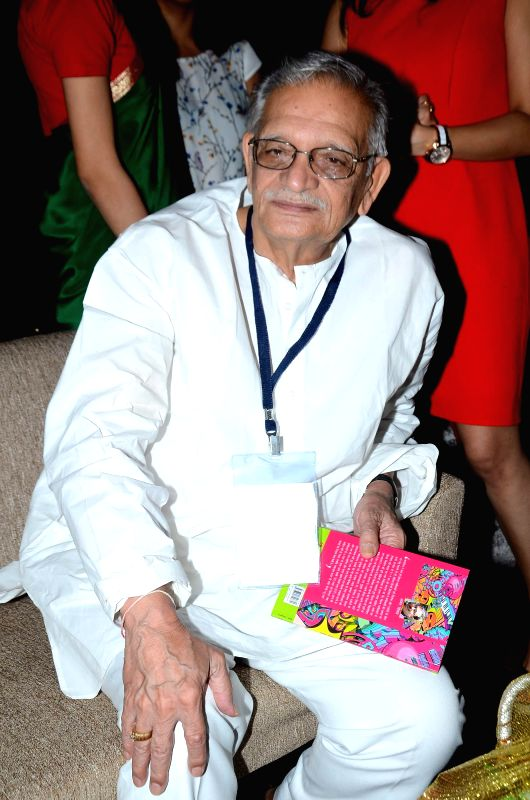 Filmmaker and lyricist Gulzar during the launch of script writer Javed Siddhiqui`s book at Literature festival, JJ school of arts in Mumbai, on March, 01, 2015.