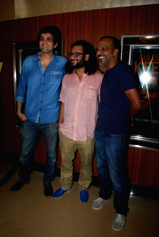 Filmmaker and writer Amit Masurkar, actor Mayank Tewari and filmmaker Navdeep Singh during the screening of film Sulemani Keeda in Mumbai on Dec 2, 2014. - Mayank Tewari and Navdeep Singh