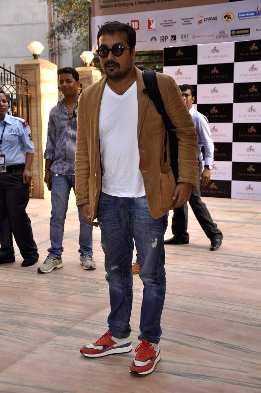 Filmmaker Anurag Kashyap during the inauguration of a workshop organized by the Film Heritage Foundation entitled `Film Preservation and Restoration School India 2015` in Mumbai on Feb 22, ... - Anurag Kashyap