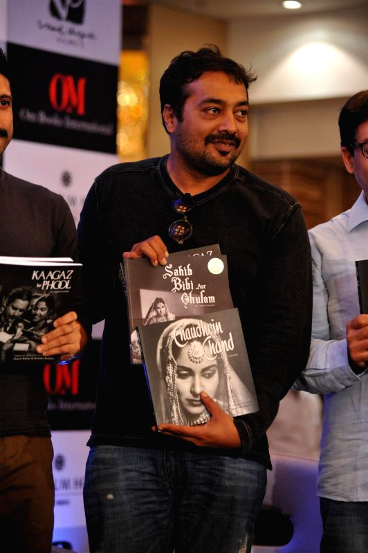 Filmmaker Anurag Kashyap during the launch of screenplays of Guru Dutt`s films, organised by Vinod Chopra Films and Om Books International in Mumbai, on Feb 23, 2015. - Anurag Kashyap and Vinod Chopra Films