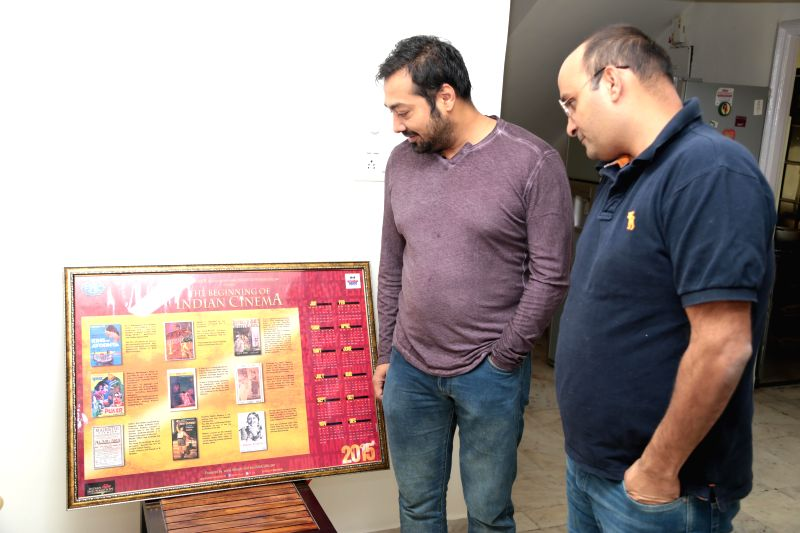 Filmmaker Anurag Kashyap launches `The Beginnings of Indian Cinema 2015` - a calender exhibiting never-before-seen posters of some of the first Indian films in Mumbai.