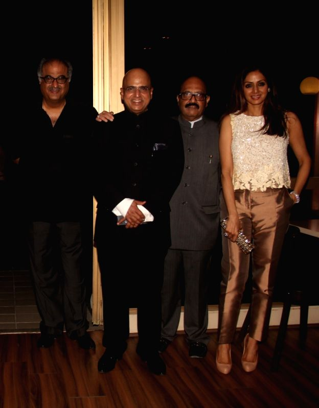 Filmmaker Bonny Kapoor, Amar Singh and Sridevi during the 50th birthday of Sangeethi Seetharaman, in Mumbai, on April 27, 2015. Politician Amar Singh hosted the party for Sangeethi ... - Bonny Kapoor