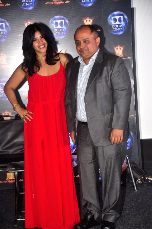 Filmmaker Ekta Kapoor and Pankaj Kedia, country manager, Dolby Laboratories India, during the press conference to announce tie-up of between Balaji Motion Pictures and Dolby Atmos in Mumbai, . - Ekta Kapoor