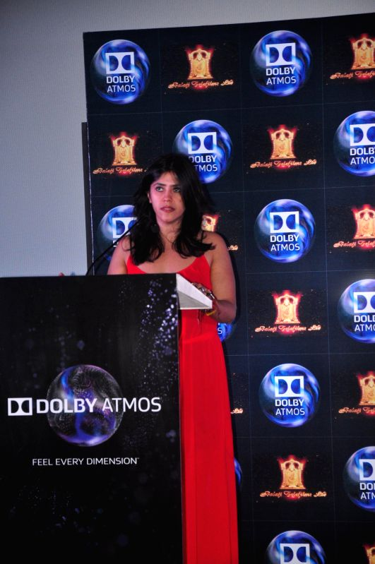 Filmmaker Ekta Kapoor during the press conference to announce tie-up of between Balaji Motion Pictures and Dolby Atmos in Mumbai, on Jan 23, 2015. - Ekta Kapoor