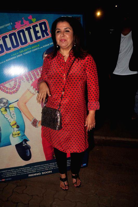 Filmmaker Farah Khan during music launch of film Mrs Scooter in Mumbai, on Jan. 19, 2015. - Farah Khan