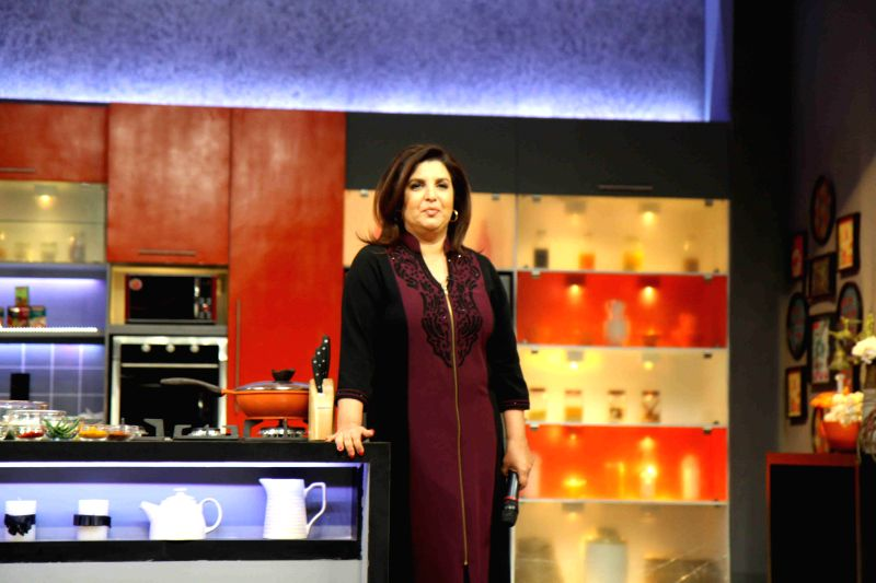 Filmmaker Farah Khan during the launch of Color TV new cookery show, Farah Ki Daawat in Mumbai on  18th Feb, 2015. - Farah Khan
