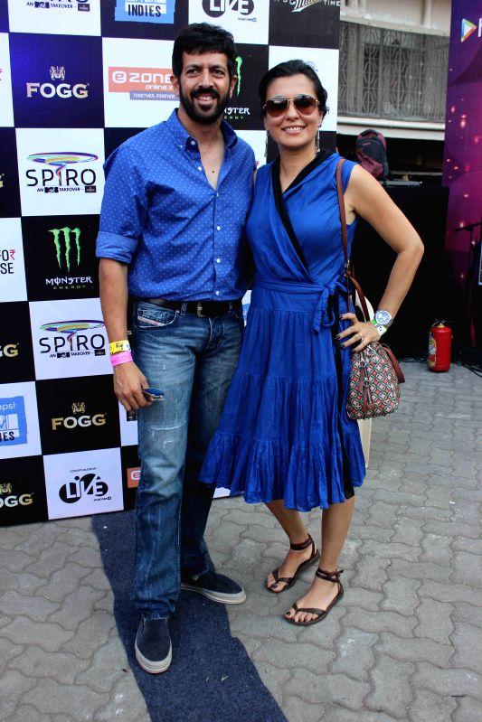 filmmaker Kabir Khan with his wife Mini Mathur during the 'SPIRO - An MTV Indies Takeover' in Mumbai, on April 4, 2015. - Kabir Khan