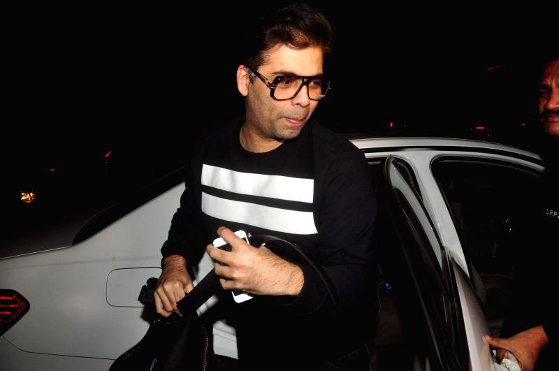 Filmmaker Karan Johar during the filmmaker Zoya Akhtar party in Mumbai on Feb. 16, 2015. - Karan Johar