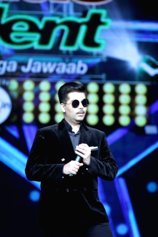 Filmmaker Karan Johar during the promotion of film Bombay Velvet on the Set`s of Indias Got Talent in Mumbai, on April 28, 2015. - Karan Johar