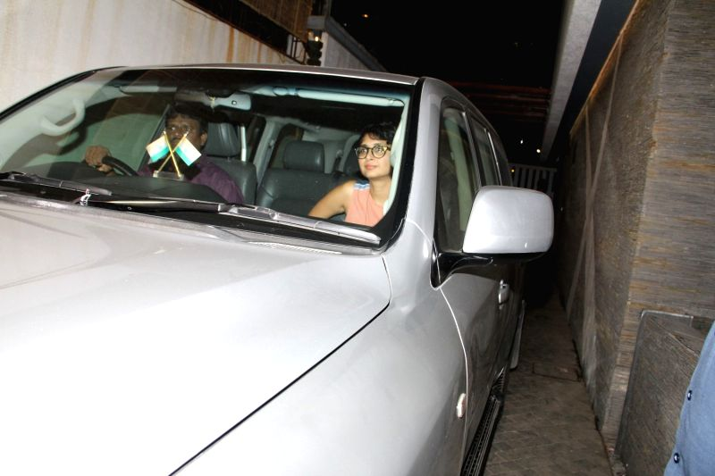 Filmmaker Kiran Rao leaves after attending a get-together at actor Farhan Akhtar`s home, in Mumbai on April 10, 2015. - Kiran Rao