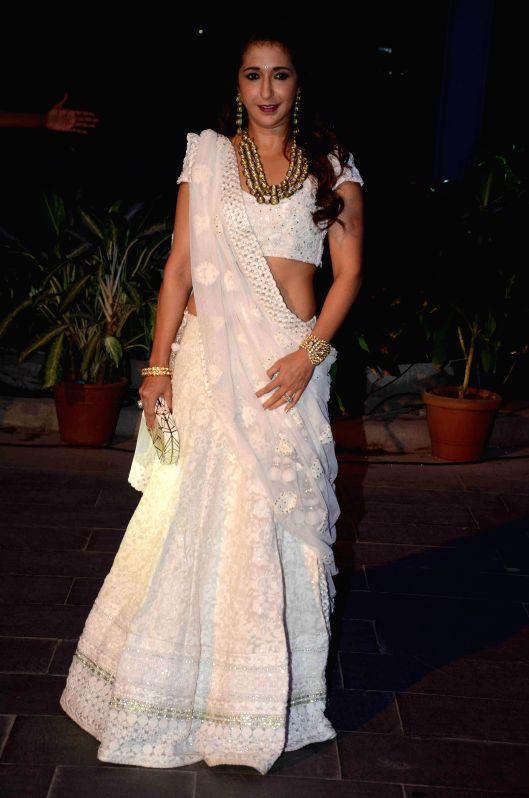 Filmmaker Krishika Lulla during the wedding reception of Bollywood filmmaker Smita Thackeray`s son Rahul Thackeray and Dr. Aditi Thackeray in Mumbai on Feb 13, 2015. - Krishika Lulla