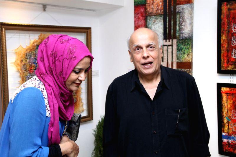 Filmmaker Mahesh Bhatt during the inauguration of contemporary Arabic Calligraphy artist Salva Rasool`s art exhibition Elahiya in Mumba on March 27, 2015.