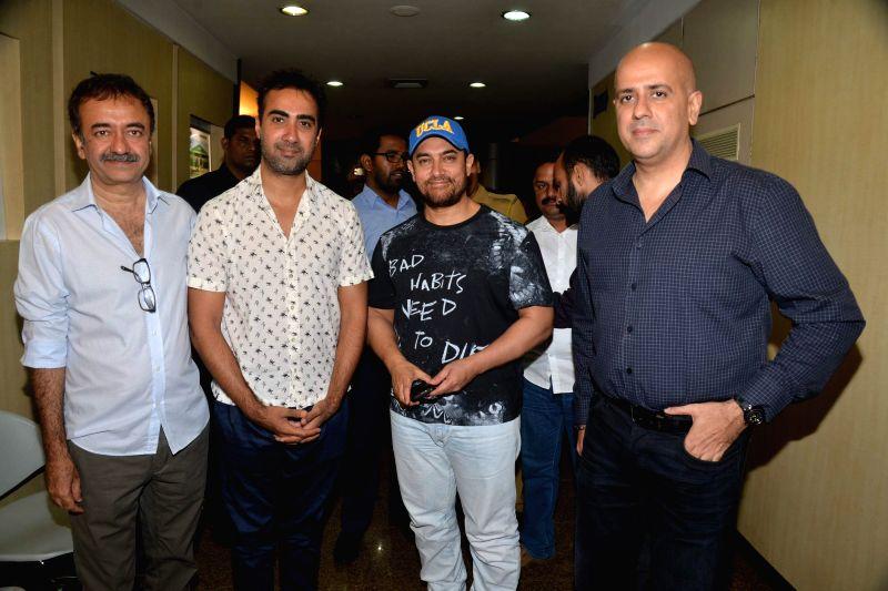Filmmaker Rajkumar Hirani, actors Ranvir Shorey, Aamir Khan and Ashvin Gidwani during Ashvin Gidwani`s play Two to Tango Three to Jive, in Mumbai on April 4, 2015. - Rajkumar Hirani, Ranvir Shorey and Aamir Khan