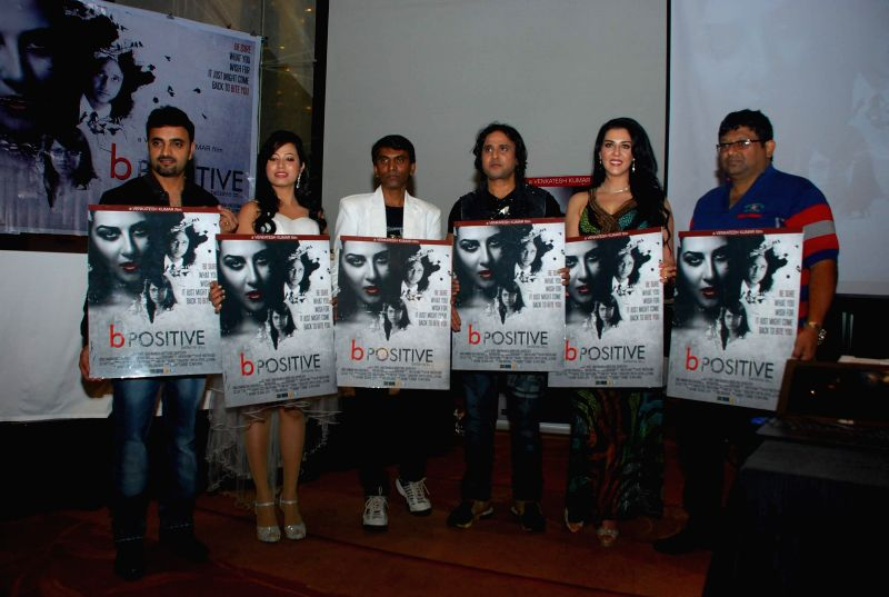 Filmmaker Sohail Khoja, actors Samira Mohamed Ali, Raj K Purohit, Nibedita Biswal and filmmaker Venkatesh Kumar during poster launch of film B Positive in Mumbai, on Jan. 19, 2015. - Sohail Khoja, Samira Mohamed Ali, Raj K Purohit, Nibedita Biswal and Venkatesh Kumar