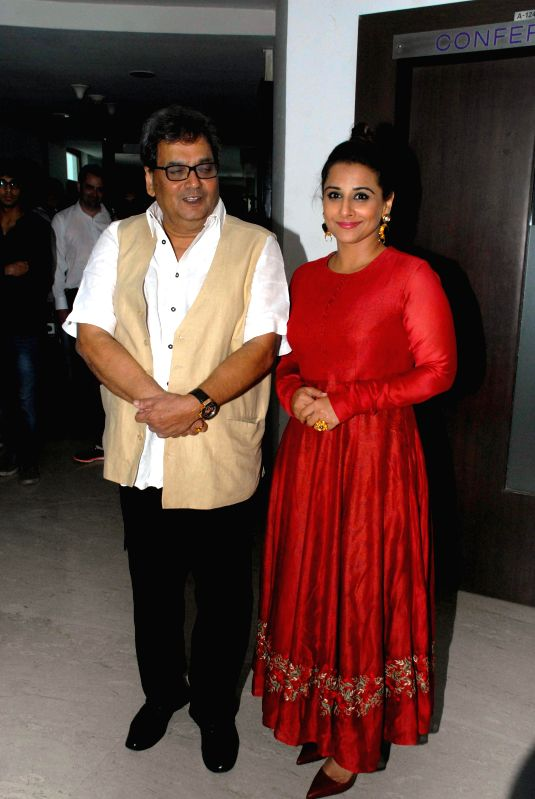 Filmmaker Subhash Ghai and actor Vidya Balan during the launch of ``cultural hub-5th veda and the meditation room-I pray`` at Whistling Woods International, in Mumbai on Jan. 30, 2015. - Subhash Ghai and Vidya Balan