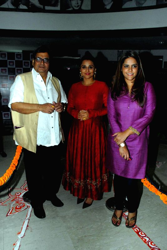 Filmmaker Subhash Ghai, Bollywood actor Vidya Balan and Meghna Ghai Puri during the launch of ``cultural hub-5th veda and the meditation room-I pray`` at Whistling Woods International, in ... - Subhash Ghai and Vidya Balan