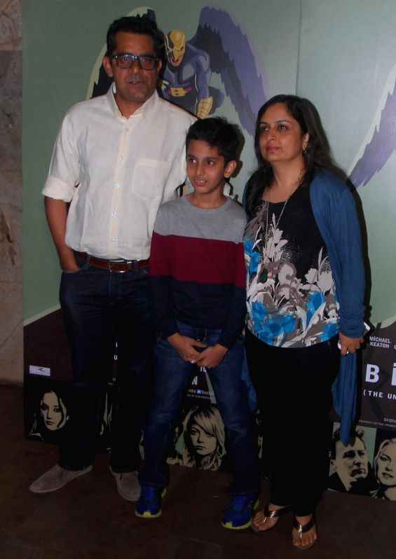 Filmmaker Subhash Kapoor with family during the special screening of Hollywood film Birdman in Mumbai, on Jan. 16, 2015. - Subhash Kapoor