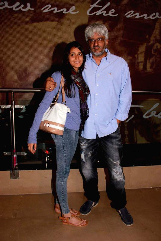 Filmmaker Vikram Bhatt with his daughter Krishna Bhatt during screening of the film Khamoshiyan in Mumbai on January 29, 2015. - Vikram Bhatt