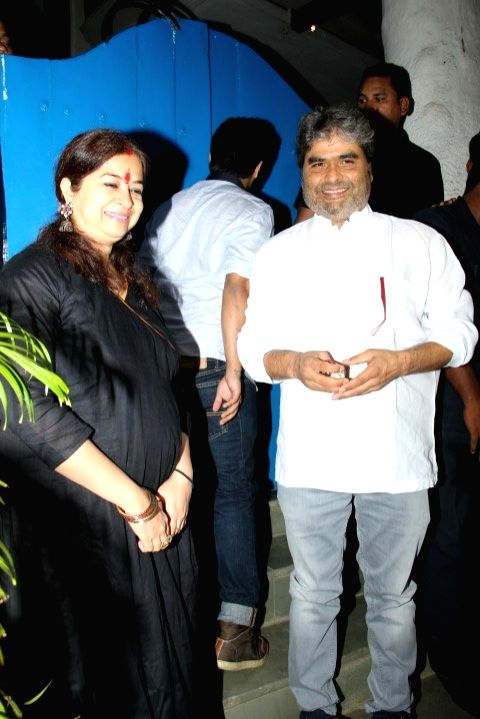 Filmmaker Vishal Bhardwaj with wife Rekha Bhardwaj at the party hosted by Deepika padukone for the succes of film Piku, in Mumbai, on May 18, 2015. - Vishal Bhardwaj and Rekha Bhardwaj