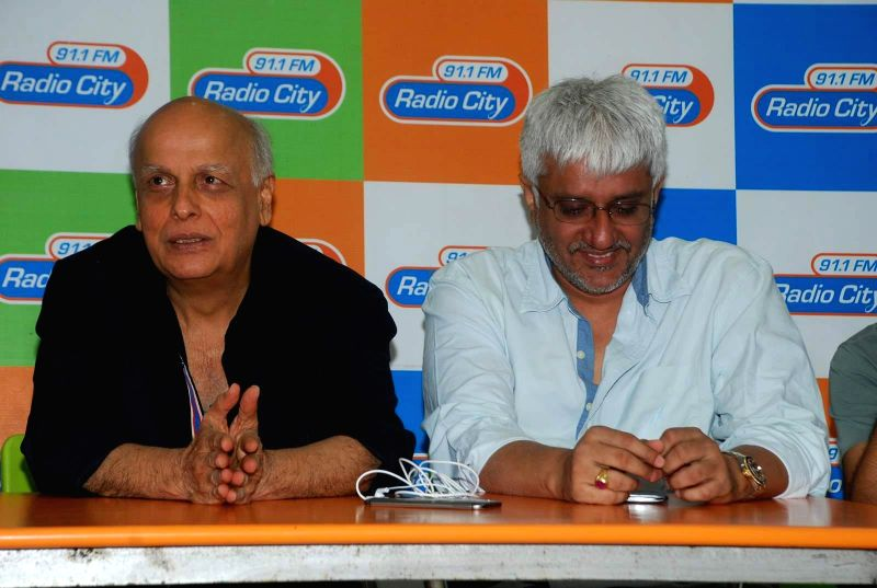 Filmmakers Mahesh Bhatt and Vikram Bhatt during the music launch of film Mr. X at Radio City in Mumbai, on March 13, 2015. - Mahesh Bhatt and Vikram Bhatt