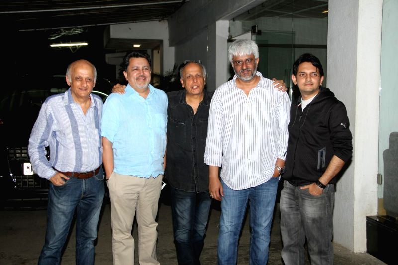 Filmmakers Mahesh Bhatt, Vikram Bhatt and Vishesh Bhatt during the screening of Film Mr.X in Mumbai on April 2, 2015. - Mahesh Bhatt, Vikram Bhatt and Vishesh Bhatt