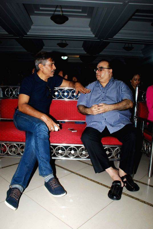 Filmmakers Prakash Jha and Rajkumar Santoshi during the Mahurat and on location of film Chalk and Duster, in Mumbai on April 12th, 2015. - Prakash Jha and Rajkumar Santoshi