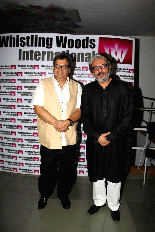 Filmmakers Sanjay Leela Bhansali and Subhash Ghai during the launch of ``cultural hub-5th veda and the meditation room-I pray`` at Whistling Woods International, in Mumbai on Jan. 30, 2015. - Sanjay Leela Bhansali and Subhash Ghai