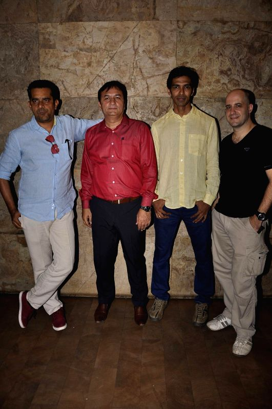 Filmmakers Subhash Kapoor, Sanjay Gulati, Sandeep Mohan, with actor Ashwin Mushran during the premier of Bollywood movie Hola Venky. The movie by independent filmmaker Sandeep Mohan, made at ... - Ashwin Mushran, Subhash Kapoor, Sanjay Gulati and Sandeep Mohan