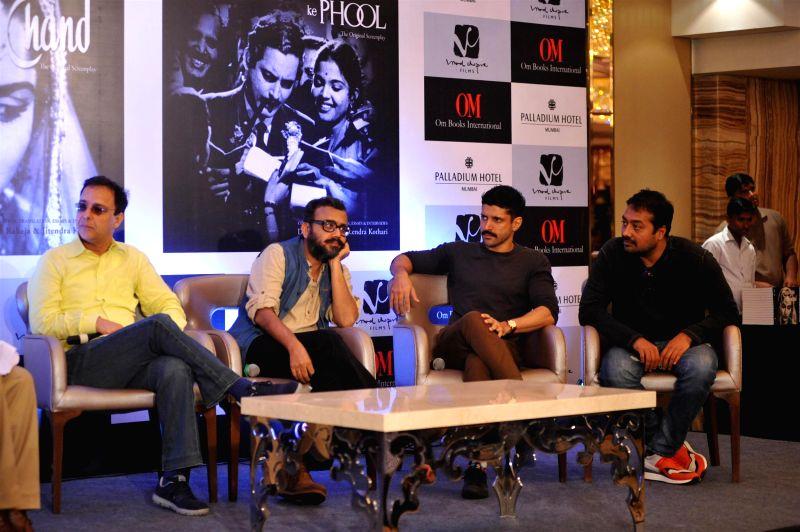 Filmmakers Vidhu Vinod Chopra, Dibakar Banerjee, filmmaker and actor Farhan Akhtar and Anurag Kashyap during the launch of screenplays of Guru Dutt`s films, organised by Vinod Chopra Films ... - Farhan Akhtar, Vidhu Vinod Chopra, Dibakar Banerjee, Anurag Kashyap and Vinod Chopra Films