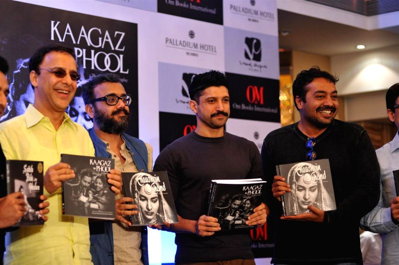 Filmmakers Vidhu Vinod Chopra, Dibakar Banerjee, filmmaker and actor Farhan Akhtar and Anurag Kashyap during the launch of screenplays of Guru Dutt`s films, organised by Vinod Chopra Films ... - Farhan Akhtar, Vidhu Vinod Chopra, Dibakar Banerjee, Anurag Kashyap and Vinod Chopra Films