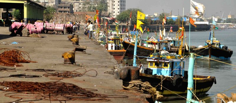 Fishing trawlers docked at Sassoon Docks as fish traders and fishermen go on a days strike to press for their demands in Mumbai on March 17, 2015.