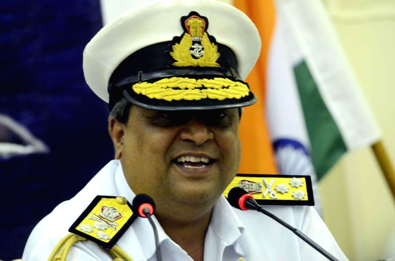 Flag Officer Commanding-in-Chief, Western Naval Command Vice Admiral Anil Chopra addresses press aboard INS Vikramaditya, off Mumbai coast on Dec 3, 2014.
