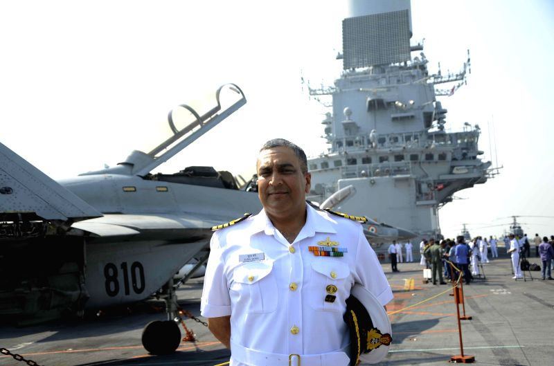 Flag Officer Commanding-in-Chief, Western Naval Command Vice Admiral Anil Chopra aboard INS Vikramaditya, off Mumbai coast on Dec 3, 2014.
