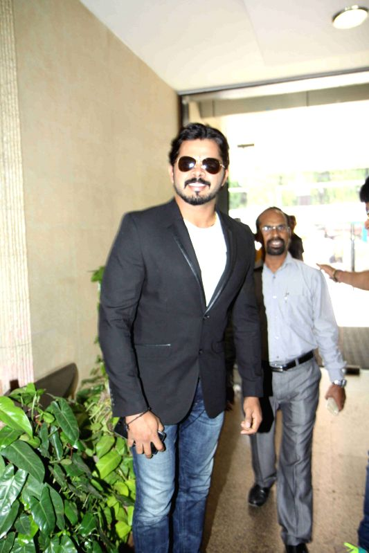 Former cricketer S Sreesanth arrives to attend Dr. Ambedkar Award 2015, in Mumbai on 13th April 2015.