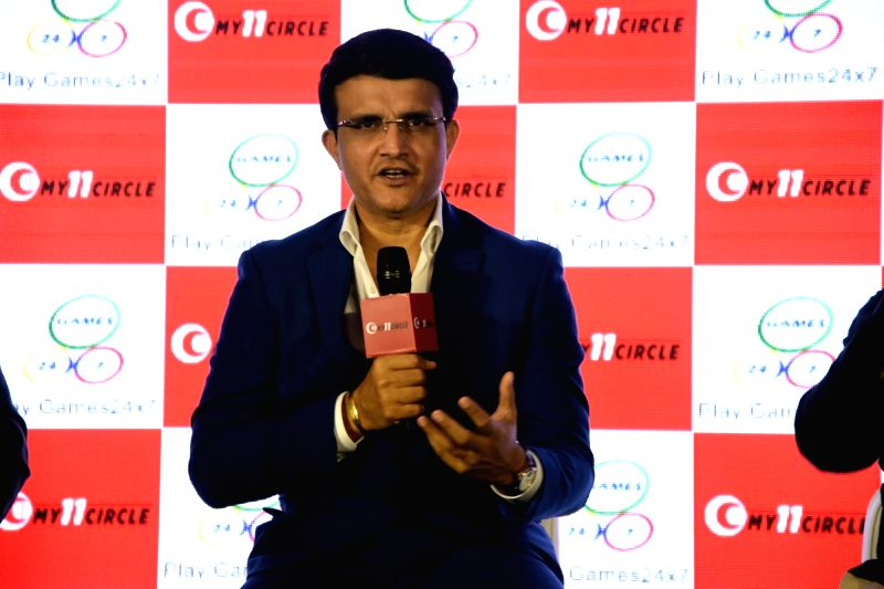 """Mumbai: Former Indian cricket captain and Cricket Association of Bengal (CAB) President Sourav Ganguly addresses at the launch of """"My 11 Circle"""" Gaming app in Mumbai on Aug 23, 2019."""