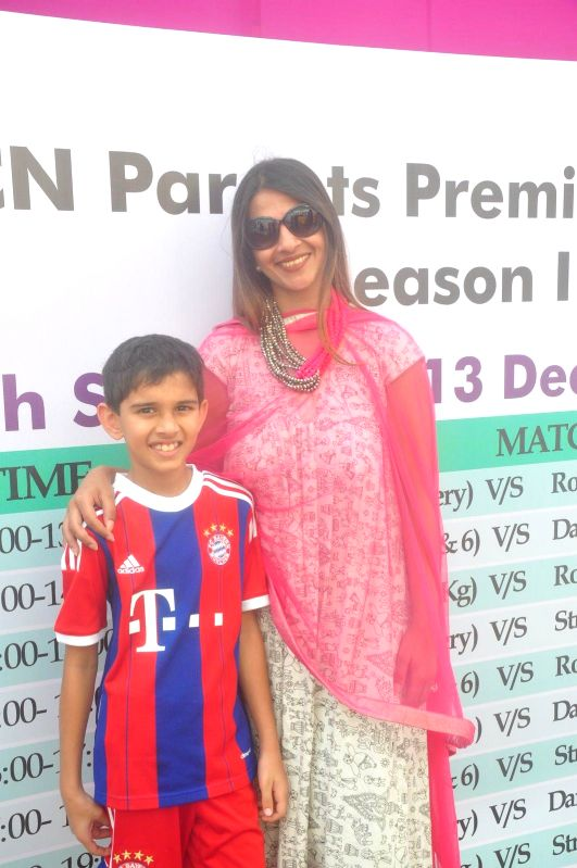 Former Indian cricketer Ajit Agarkar's wife Fatima Agarkar during the JPPL cricket league organized by Fatima Agarkar in Mumbai, on December 13, 2014.