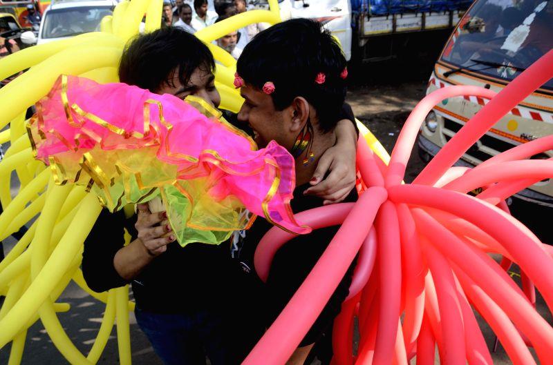 Gays and Lesbians during parade at August Kranti Maidan in Mumbai on Jan. 31, 2015