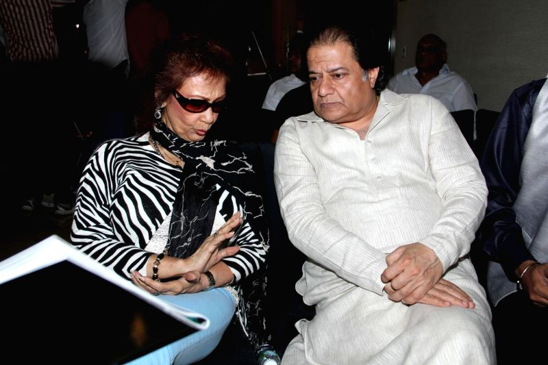 Ghazal singer Chitra Singh and Bhajan singer Anup Jalota, during the announcement of Ghazal Day musical concert, a tribute to Gazal singer Jagjit Singh on his birth anniversary, in Mumbai on . - Chitra Singh