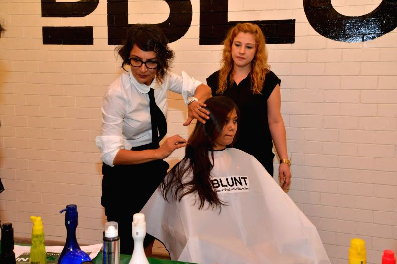 Hairstylist and wife of Farhan Akhtar, Adhuna Akhtar during the launch of 18th store of BBlunt at R City Mall, Ghatkopar in Mumbai, on Nov. 22, 2014.