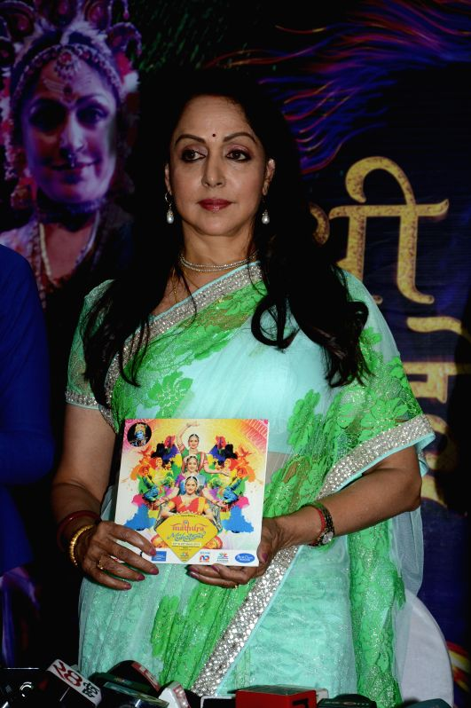 Hema Malini during the press conference to announce a two - day long Braj Mahotsav at Mathura, Vrindavan Chandrodaya Mandir on April 25 and 26 in Mumbai on April 21, 2015. - Hema Malini