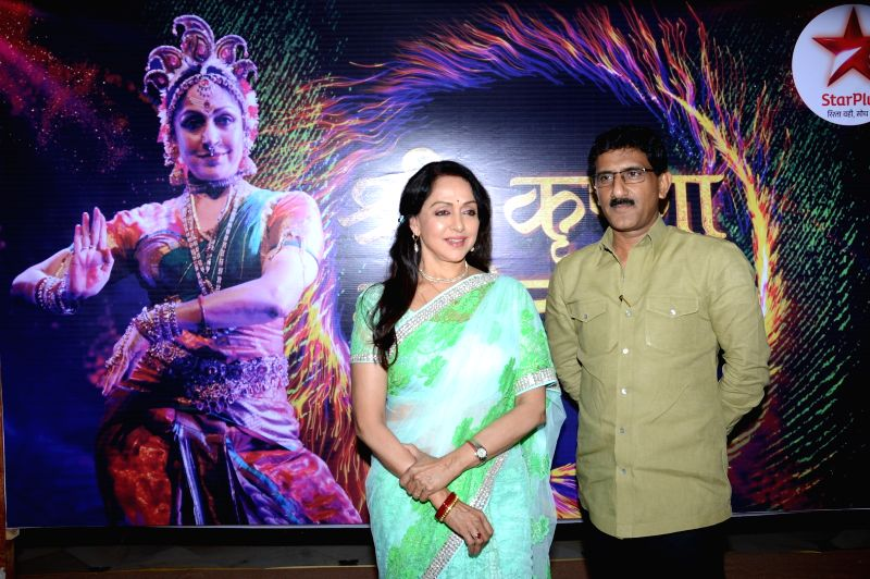 Hema Malni & Sunil Rane during the press conference to announce a two - day long Braj Mahotsav at Mathura, Vrindavan Chandrodaya Mandir on April 25 and 26 in Mumbai on April 21, 2015.