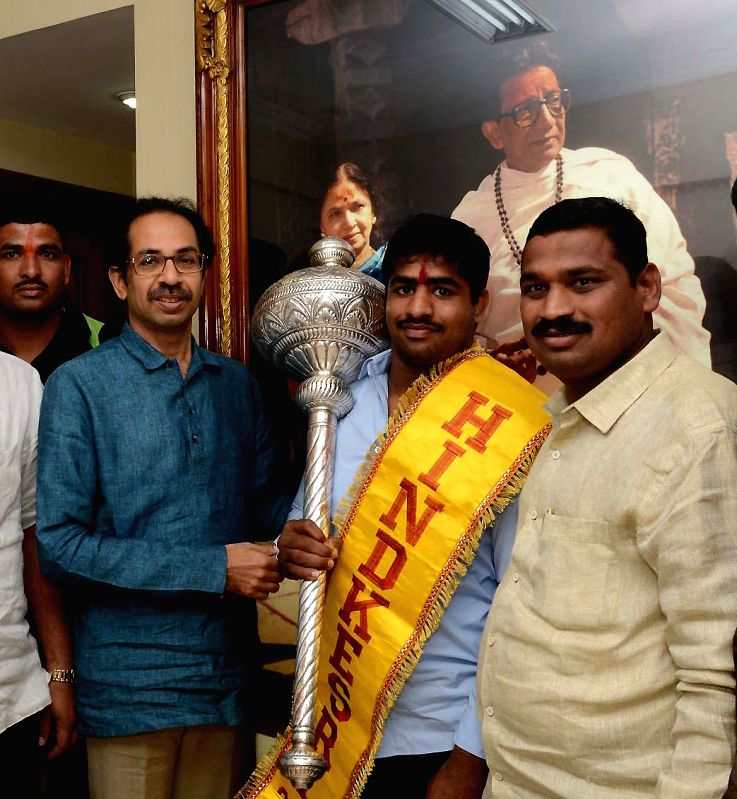 `Hind Kesari 2014` winner Sunil Salunkhe calls on Shiv Sena Chief Uddhav Thackeray at Matoshree in Mumbai, on Feb 6, 2015.