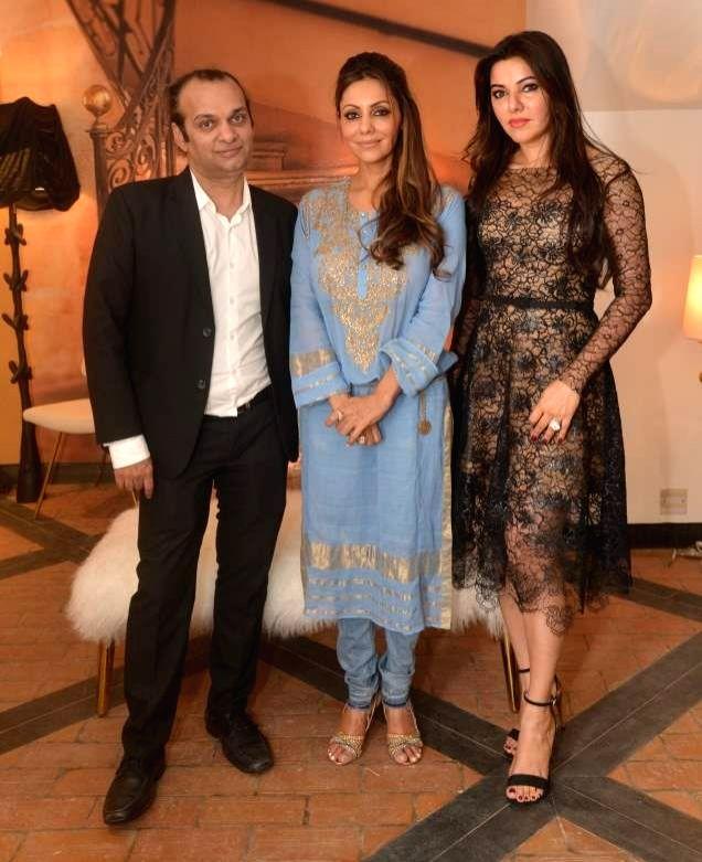 Hosts Raj Anand,Gauri Khan and Kaykasshan Patel during the launch of Gauri`s private workspace `Gauri Khan` at Bandra in Mumbai on, April 29, 2015. - Kaykasshan Patel