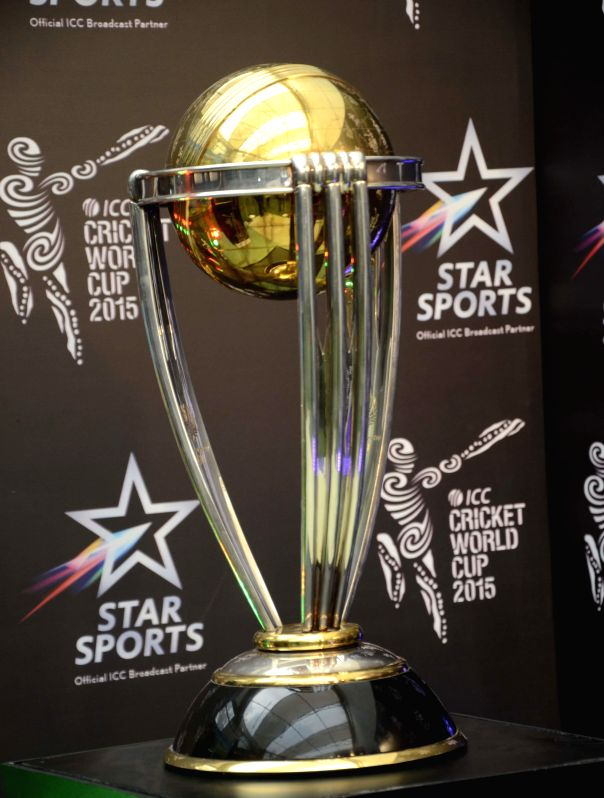 ICC Cricket World Cup trophy is on display in Mumbai on Jan. 24, 2015.
